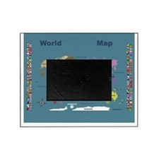 World Map For Kids - Blue with Flags Picture Frame