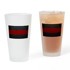 Diamond Plate Thin Red Line Drinking Glass
