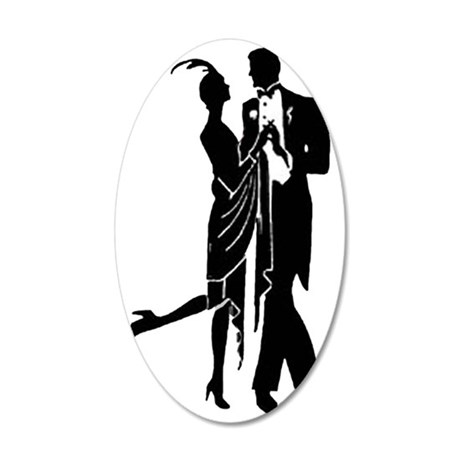 Elegant 1920s Couple Dancing 35x21 Oval Wall Decal
