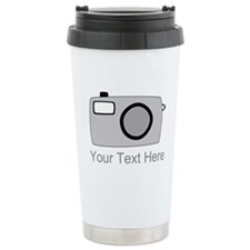 Gray Camera and Text. Travel Mug