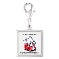 Westie Gift Silver Square Charm
