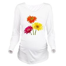 Daisy Gerbera Flower Long Sleeve Maternity T-Shirt
