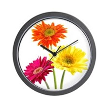 Daisy Gerbera Flowers Wall Clock