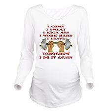 blk_come_sweat_kick_ Long Sleeve Maternity T-Shirt