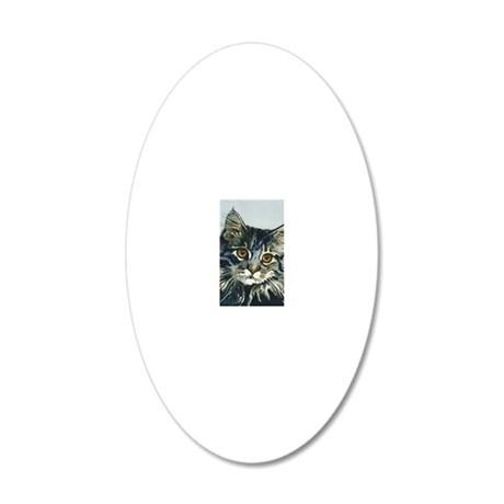 Elfin Maine Coon Cat by Lori 20x12 Oval Wall Decal