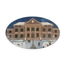 Decatur Courthouse in the Snow Oval Car Magnet