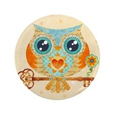"Owls Summer Love Letters 3.5"" Button"