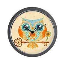 Owls Summer Love Letters Wall Clock