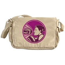 Female Boxer Punch Retro Messenger Bag