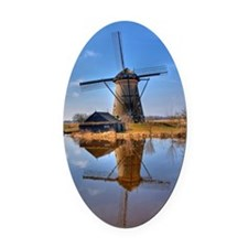 Windmill in Holland Oval Car Magnet