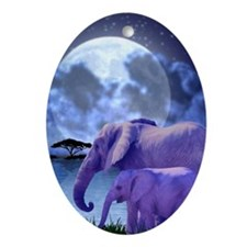 Contemplative Elephants Oval Ornament