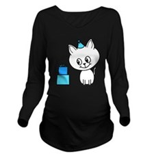 Cute Cat on his Birthday. Long Sleeve Maternity T-