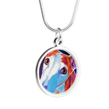 Greyhound #3 Silver Round Necklace