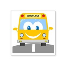 "happy smiling school bus ca Square Sticker 3"" x 3"""