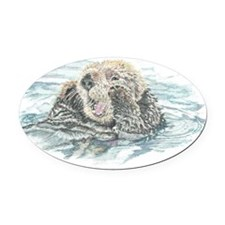 Cute Watercolor Otter Animal Oval Car Magnet