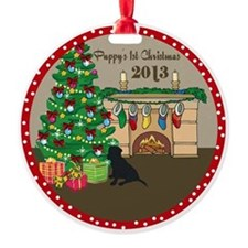 2013 Black Lab 1St Christmas Ornament