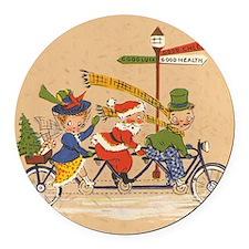 Vintage Christmas, Santa Claus Ri Round Car Magnet