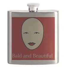 Bald and Beautiful on red Flask