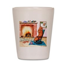 Dachshunds by the Hearth Shot Glass
