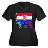 Croatia Soccer Women's Plus Size V-Neck Dark T-Shi