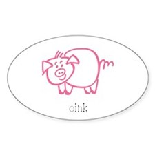 Oink, The Pig Oval Decal