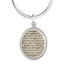 Saint Michael the Archangel Silver Oval Necklace