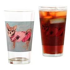 polka dot chihuahua Drinking Glass
