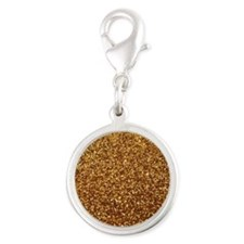 Faux gold glitter Silver Round Charm