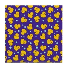 Purple rubber ducky pattern Tile Coaster