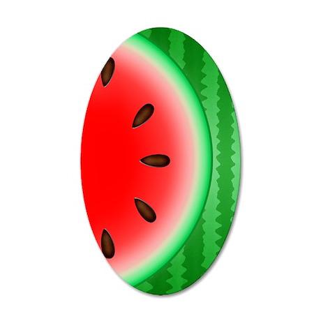 Watermelon Slice 35x21 Oval Wall Decal