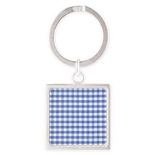 Dark blue gingham Square Keychain
