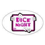 Dice Night Oval Sticker