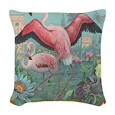 Vintage Flamingo Woven Throw Pillow