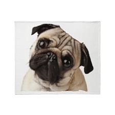 Pug Oil Painting Face Throw Blanket