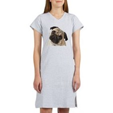 Pug Oil Painting Face Women's Nightshirt