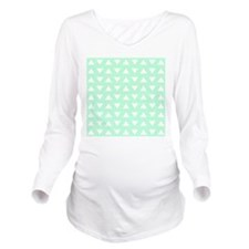 Mint Green Pattern. Long Sleeve Maternity T-Shirt