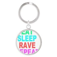 Eat Sleep Rave Repeat colorful Shir Round Keychain