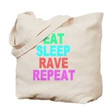 Eat Sleep Rave Repeat colorful Shirt Tote Bag