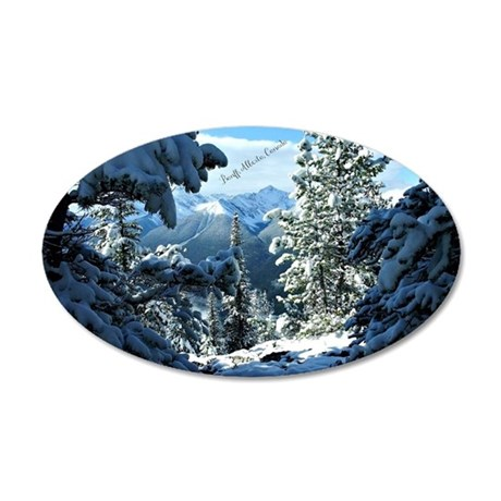 Snowy White Winter - Banff,  35x21 Oval Wall Decal