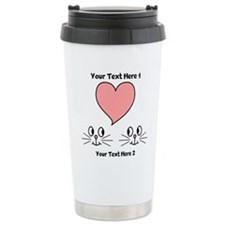 Cats and Love Heart. Text. Travel Mug