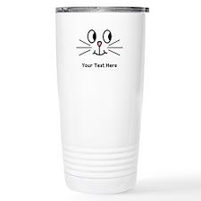 Cute Cat Face, Black Text. Travel Mug