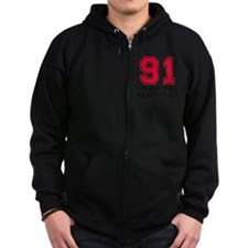 91 year aged to perfection Zip Hoodie