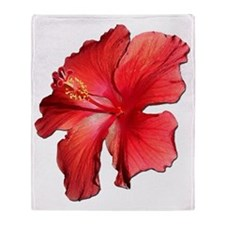 Hibiscus Bloom Ruby Red Throw Blanket