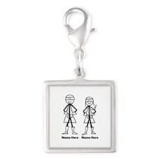 Super Stick Figure Couple Silver Square Charm