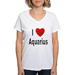 I Love Aquarius Women's V-Neck T-Shirt