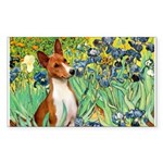Basenji in Irises Sticker (Rectangle)