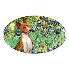 Basenji in Irises Sticker (Oval)