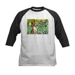Basenji in Irises Kids Baseball Jersey