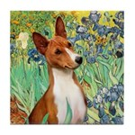 Basenji in Irises Tile Coaster