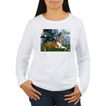 Lilies (1) with a Basenj Women's Long Sleeve T-Shi